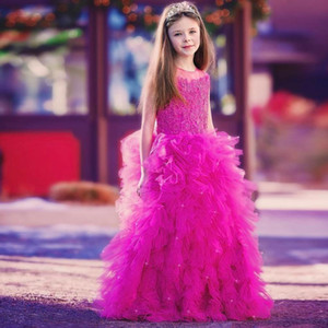 Cheap A Line Fuchsia Flower Girls Dresses Jewel Neck Tier Tulle Puffy Skirt Kids Pageant Dress Custom Made Girls Prom Gown
