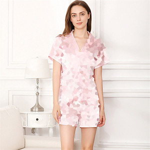 Лето Printed Пижамки Мода Ice Шелковый женщин Sleepwear Top Grade Короткие рукава Повседневные Nightgowns наборы