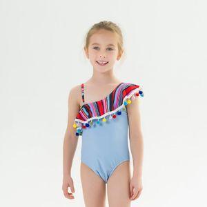 Baby Girl Swimsuit Tassel Toddler Girls Swimwear with Balls One Shoulder Infant Girls Bathing Suit Bikini Summer Baby Beachwear DW4998