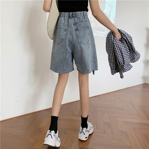 the new web celebrity denim shorts female ins tall waist a word in wide-legged pants show thin easy 5 minutes of pants