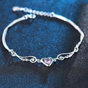 925 Sterling Silver pulseira asas do anjo do amor do coração com cristais austríacos Para charme da mulher BraceletWholesale Fine Jewelry