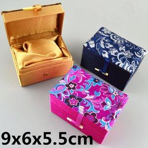 소프트 작은 사각형 멋진 보석 상자 중국 공예 포장 패브릭 스토리지 박스 실크 장식 선물 상자 도매 9x6x5.5cm의 4 개 / 많은