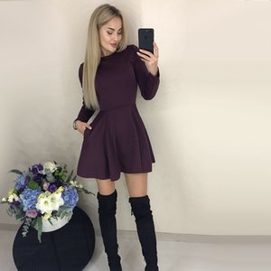 Autumn Long Sleeve Sexy a Line Party Dress Ladies Office Work Basic Shirt Dress 2019 Fashion Elegant Mini Dress Winter Vestidos CX200708
