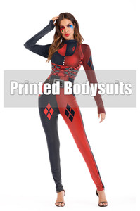 Halloween Stage Wear Designer 3D Pattern Women Jumpsuits Casual Long Sleeve Stand Collar Rompers Womens Clothing