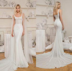 2021 New Wedding Dresses Sexy Spaghetti Straps Lace Mermaid Bridal Gowns Custom Made Backless Sweep Train Wedding Dress vestidos de novia