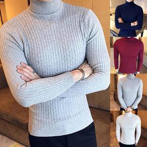 Los hombres del invierno suéteres del suéter del color sólido de manga larga Turtelneck jersey de punto suéter básico delgado masculino Jerseys