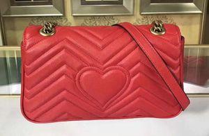 5A Mulheres 443497 26 centímetros Marmont ombro verdadeiro saco de couro, hardware antigo tons de ouro, fechamento Primavera Flap com Box + saco de poeira + Reciept