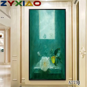 ZYXIAO Big Size-Ölgemälde Blume weiße Rose Fenster Wohnkultur auf Leinwand Moderne Wand-Kunst-No Frame-Druck-Plakat Bild A7751