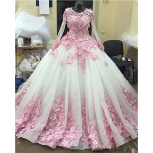 Long Sleeves Custom Wedding Dresses With Pink 3D-Floral Appliques Junior Bridal Gowns Custom Made