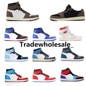 Hommes Chaussures de basket-ball de Travis Scotts Top Obsidian UNC sans Peur PHANTOM TURBO VERT 1 Backboard PHANTOM ROUGE GYM Sport espadrille