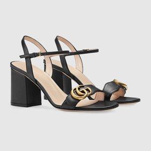 2020 venta caliente de las n mediados del cuero genuino talón sandalias zapatos de diseño luxuryous señoras de alta calidad con la caja