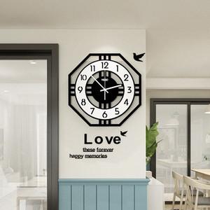 Estilo creativo de la manera geométrica abstraído reloj de pared de diseño moderno europeo MEISD Relojes libre que brilla la sala de estar Decoración 6S2Y #