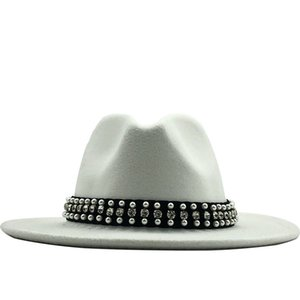 Hot Uomo Donna Lana tesa larga in feltro Fedora Cappello Panama con Belt Buckle Jazz Trilby Parte cappuccio Top Hat formale in rosa, bianco