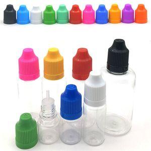 Colorful 3ml 5ml 10ml 15ml 20ml 50ml 60ml 100ml 120ml Dropper Bottle E Liquid Empty PE Vape Cig Juice Plastic Bottles with Long Thin Tips