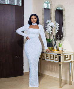 2020 Arabic Aso Ebi White Sparkly Sexy Evening Dresses High Neck Sequined Prom Dresses Sheath Formal Party Second Reception Gowns ZJ944