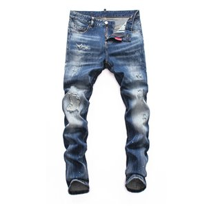 New Style Fashion Mens Straight Slim Fit Biker Jeans Pants Distressed Skinny Ripped Destroyed Denim Jeans Hip Hop mens ripped jeans