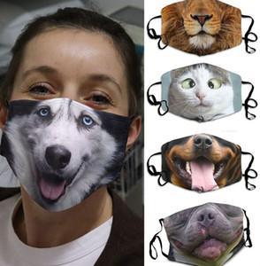 3D-Print Funny Face Mask Protective Covering animal print Washable Reusable Adult Unisex design masks Christmas gift mask LJJK2429