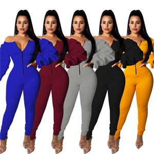 Para mujer de diseño Stacked manga del mono flaco otoño del resorte de la cremallera Bodysuit Casual longitud de los pantalones Delgado Moda mamelucos femeninos