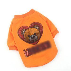 Camisas de verano con lentejuelas adorno de mascotas Patrón INS estilo del oso t-shirts personalidad al aire Charm Keji Chai ropa del perro