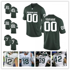 Personalizados Michigan State Spartans 24 LeVeon de Bell 35 Joe Bachie Jr 22 Josias Scott 8 Kirk Cousins ​​NCAA College Football Jerseys verde branco