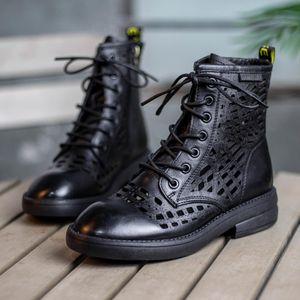 2020 mode chaussures luxe femmes concepteur femmes vintage sandales de marque Cutout Véritable bottes en cuir martin dames chaussures A008