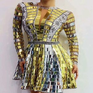 New Silver Gold Sequins Rhinestone Dance Dress Backless Prom Birthday Celebrate Outfit Bar Women Dancer DS Show Dresses