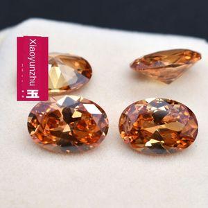 CZ Champagne egg-shaped zircon bare stone DIY jewelry ring face Diy Diamond Ring Diamond with stone Wuzhou artificial