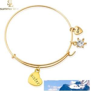 Encantos de la letra de la nueva manera mamá hermana de la abuela pulsera brazalete ajustable alambre expansible brazaletes de joyería de las mujeres del regalo de cumpleaños