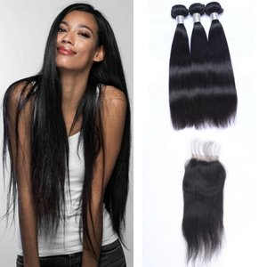 Brazilian Straight Bundles With 4x4 Lace Closure Virgin Hair Weave Bundles Human Hair Extension With Closure