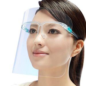 Enviar por 1 día máscara protectora de la cara llena con la máscara transparente gafas anti fluidos careta de protección del polvo anti salpicaduras Boca Cara protectora transparente