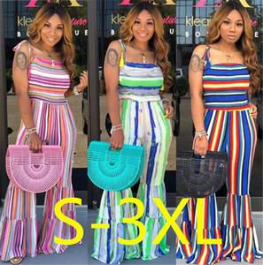 Rayada de las mujeres del verano pantalones de pierna ancha borlas strapes de campana Romper Trouses Mono plisado Plisse Playsuit Boutique Ropa LY721