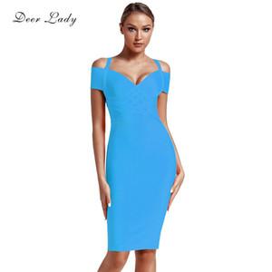 Frauen-Sommer-Promi-Verband-Kleid Neue Ankunfts-Rosa-Verband-Kleid Knielänge Frauen Gelb Aus Schulter-Partei-Kleid