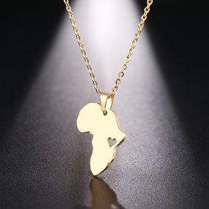 Joyería collar DOTIFI acero inoxidable para las mujeres hombre del mapa de África del oro y de la plata del color del collar pendiente de compromiso
