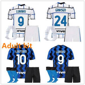 Adult kit 2020 2021 ERIKSEN LUKAKU LAUTARO home away soccer jerseys set BARELLA 20 21 football top shirt Men Kit uniform