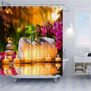 BESTORY Zen Stone Bathroom Curtains Waterproof Polyester Polyester Bathtub Shower Curtains Bamboo Illustration Home Bath Curtain Decor Gift