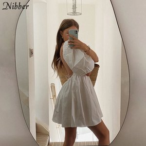 Nibber elegant sweet white loose dress for women sexy club party wear summer backless low cut puff sleeve mini dresses female T200710