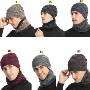 Winter Knitting Hat Scarf Set Men Solid Color Warm Cap Scarves Male Winter Outdoor Accessories Hats Scarf 2 Pieces LJJM2367