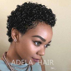 Breve ricci afro parrucca Fluffy Kinky 100% capello umano parrucche Breve Curl brasiliano Remy parrucche capelli per Black Women