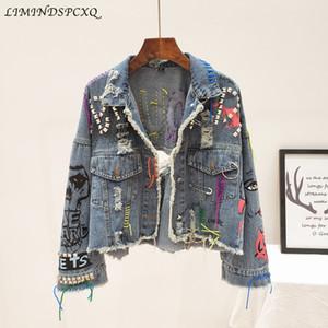 2020 Nova Mulheres Denim Jacket Buracos Primavera Outono Graffiti Rivet Jean Blusão Brasão Chaquetas Mujer Fashion Girl Outerwear
