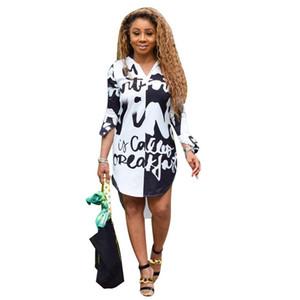 Frauen Designer-Hemd kleidet Mode-Brief Natürliche Taille Womens Designer-Hemd-Kleid beiläufige Halbarm Frauen Kleidung