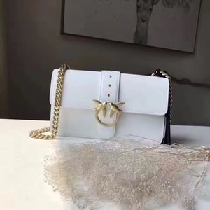 Top quality Italy designer Fashion Women Genuine Leather Double Swallow bags Female handbag shoulder chain Luxury Party Bag 27x16x18cm Pink