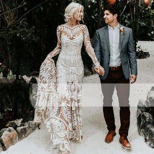 Mryarce Unique Modern Bride Boho Chic Wedding Dress Lace Long Sleeves Bohemian Bridal Gowns Mermaid Beach Wedding Dresses