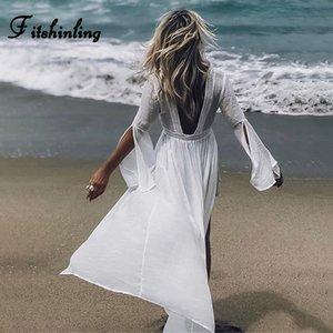 Fitshinling Backless v шеи пляж крышка вверх купальники кружева сращивания раскол вспыхивают рукав белый длинный кардиган летом бикини верхняя одежда