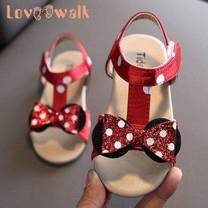 Zapatos de bebé de Bowtie de las muchachas del verano zapatos de las sandalias niño encantador para niñas transpirable sandalias de playa punto de la onda de los niños Tamaño 21 30 Soes niños Ba 91hM #
