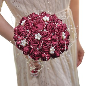 Wedding Bride Artificial Flowers Silk Ribbon Rose Beads Bouquet Decoration Party Photo Simulation Pearl Roses Holding Flower 1pc