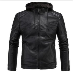 Men's Real Leather Motorcycle jacket Removable Hood Winter Coat Men Warm Genuine Leather Jackets and Coats Male Bomber Biker Top