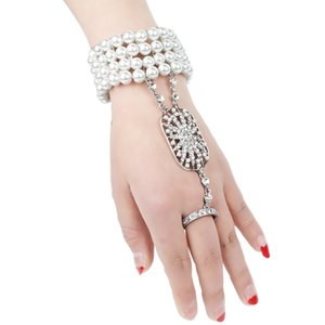Art Deco The Great Gatsby Inspired Flower Simulated Pearl Bracelet Set Wedding Bridal Bracelet 1920s Flapper Accessories