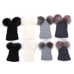 Christmas Knitting Warm Hats With Double Fur Ball Pop Winter Beanie Hats Mom And Baby Family Matching Outfit Newborn Kids Warm Caps HH7-1879