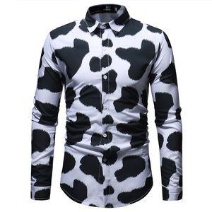 3D Корова шаблон печати с длинным рукавом рубашки мужчин 2020 Новый Slim Fit Мужские рубашки платья вскользь кнопки вниз 3XL