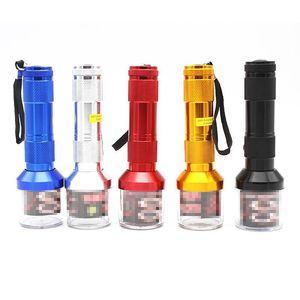 Flashlight Metal Grinder 5 Colors Aluminium Alloy Electric Grinder Tobacco Creative Muller Smoke Accessories 30pcs OOA6973